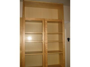 Billy Bookcase In Birch Finish With Gl Doors Height Extension