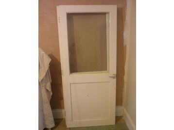 Internal Wood Doors X 2 Half Glass Half Wood Panel 77X33IN