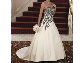 Beautiful Hand Made Wedding Dress White With Black Flowering Detail Never Worn Belfast Uk Free Clifieds Muamat