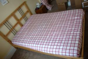 Ikea Dalselv Double Bed Frame Mattress Matching Bedside